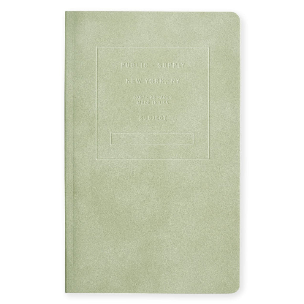 "Public - Supply 5 x 8"" Velvet Debossed Cover Dot Grid or Ruled Notebook Sage"