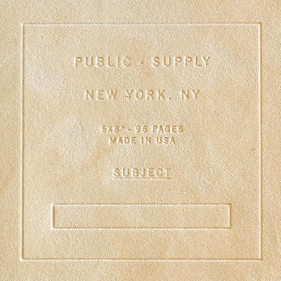 "Public - Supply 5 x 8"" Velvet Debossed Cover Dot Grid or Ruled Notebook Putty - GREER Chicago Online Stationery Shop"