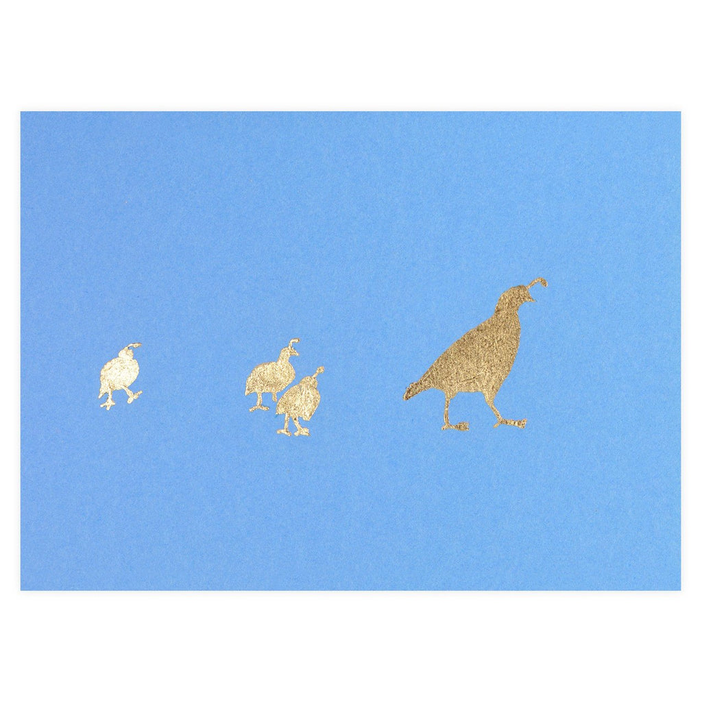 Quail Family Gold Leaf Greeting Card By Catherine Greenup - 1