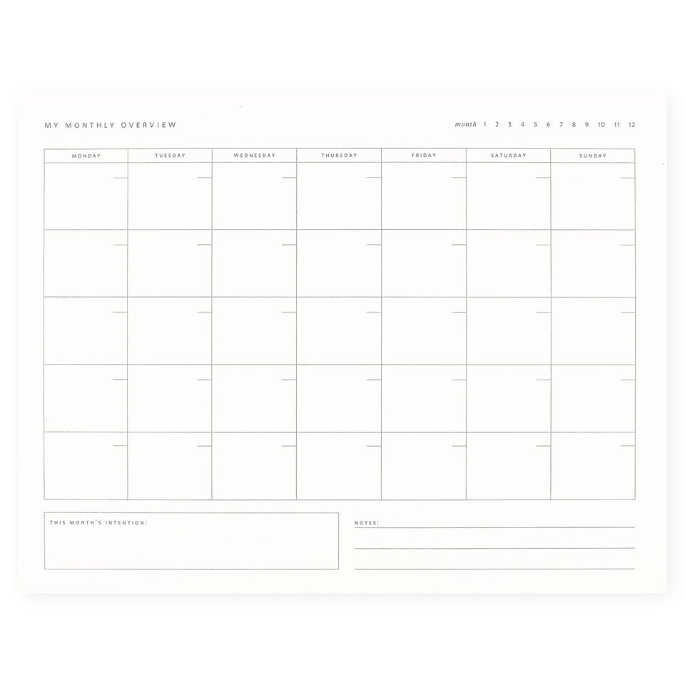 Ramona & Ruth Monthly Overview Notepad