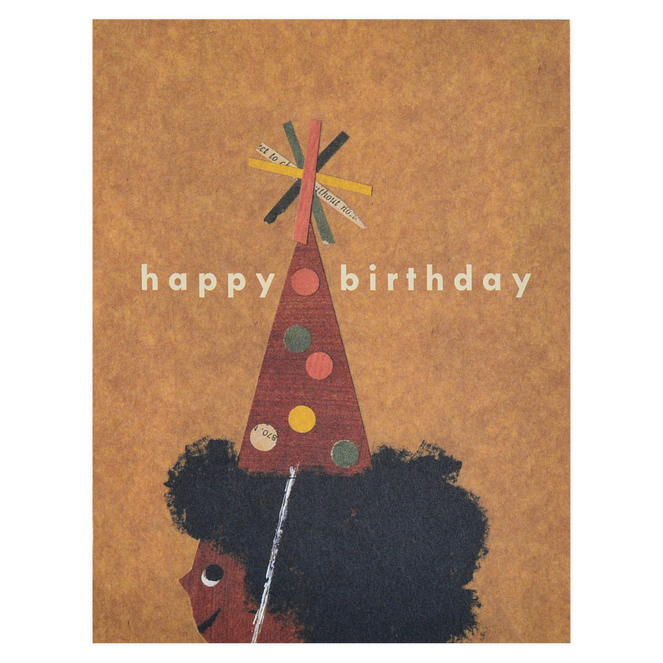 Red Cap Cards Afro Birthday Card