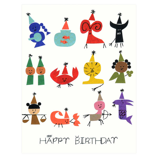 Red Cap Cards Astrology Party Birthday Card - GREER Chicago Online Stationery Shop