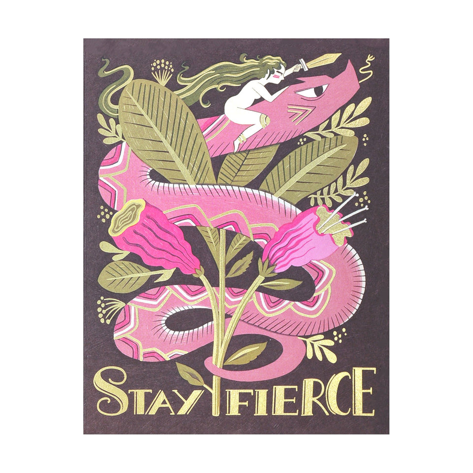 Red Cap Cards Fierce Snake Greeting Card
