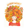 Red Cap Cards Floral Tresses DIE CUT  Birthday Card