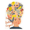 Red Cap Cards Fruit Lady Hat DIE CUT Birthday Card