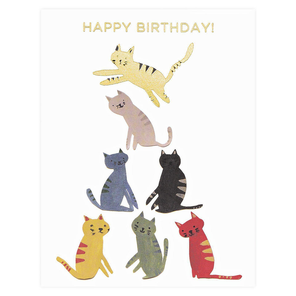 Red Cap Cards Gold Kitty Birthday Card