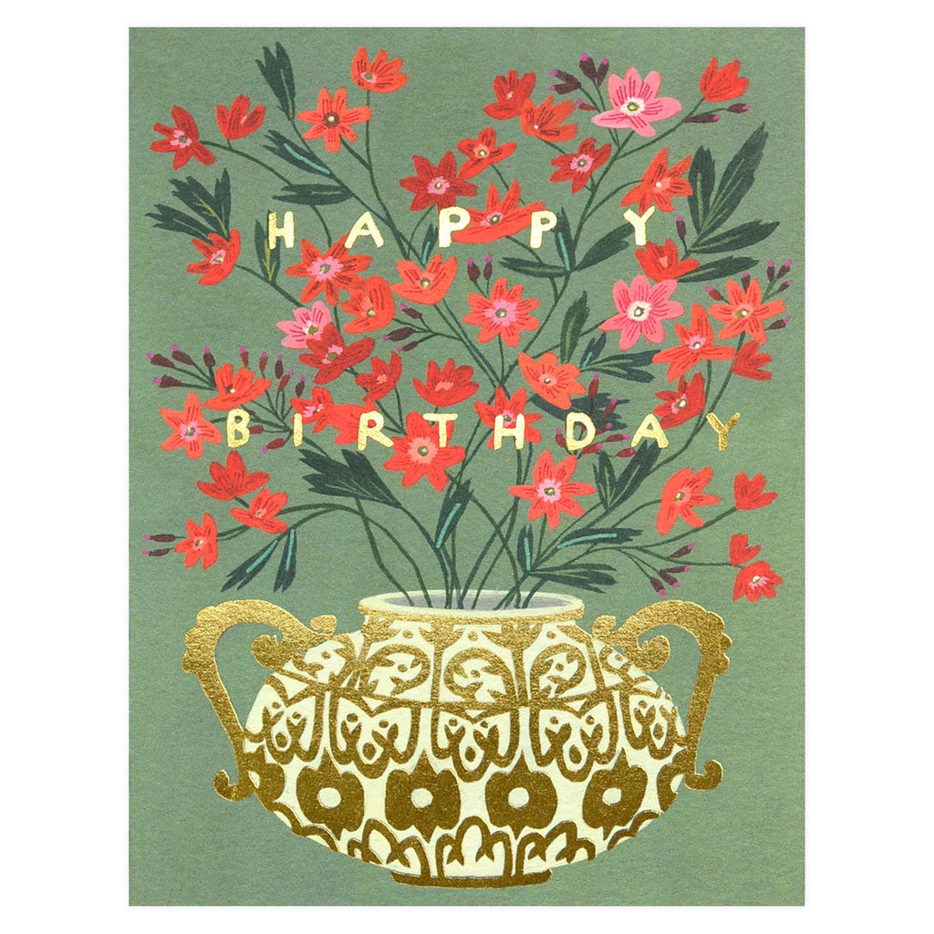 Golden Vase Birthday Card - GREER Chicago Online Stationery