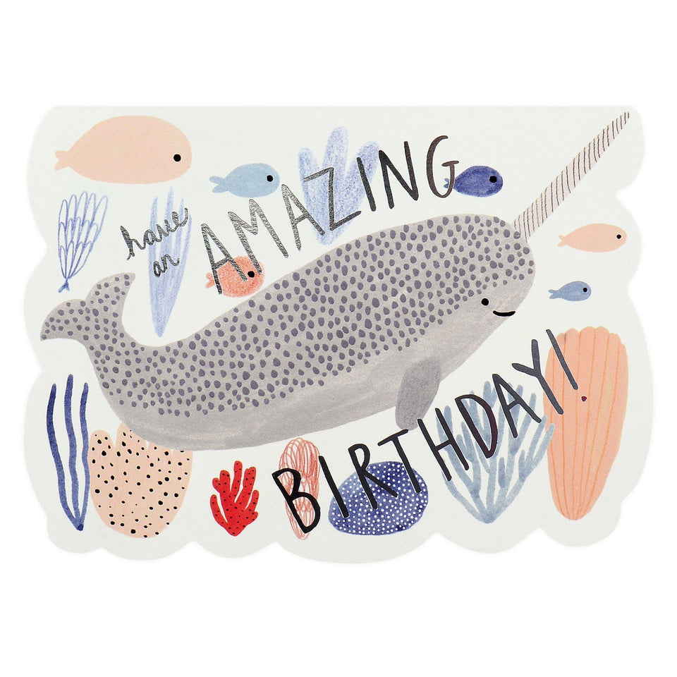 Red Cap Cards Narwhal Birthday Card