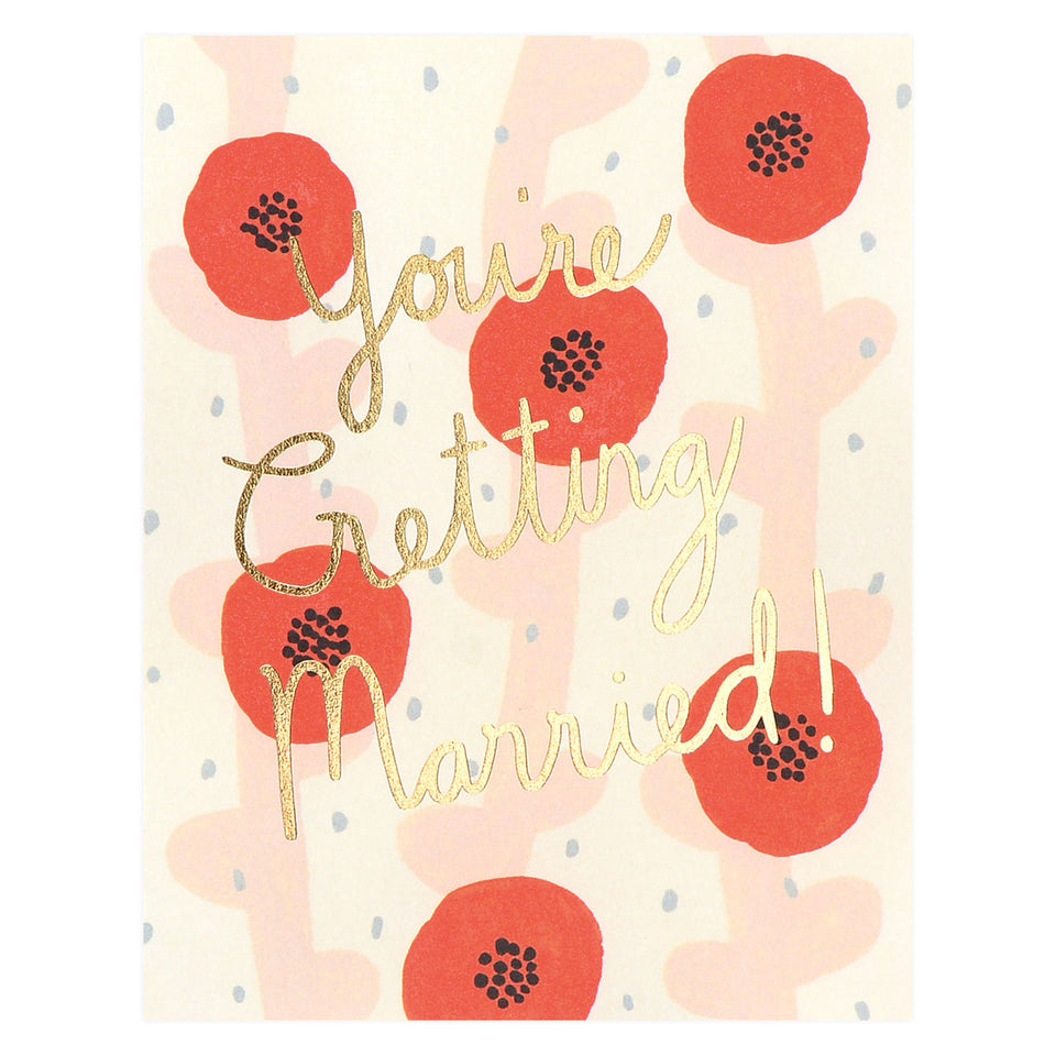 Red Cap Cards Wedding Poppies Greeting Card