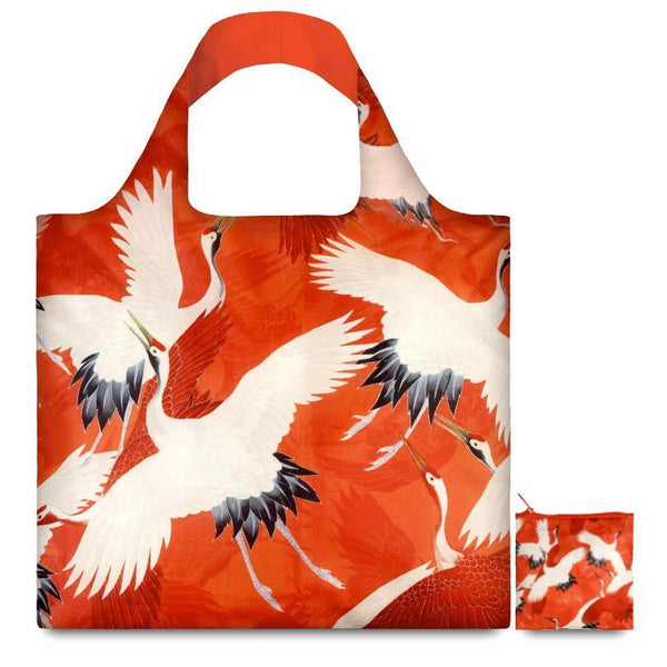 White And Red Cranes Reusable Bag By LOQI - 1