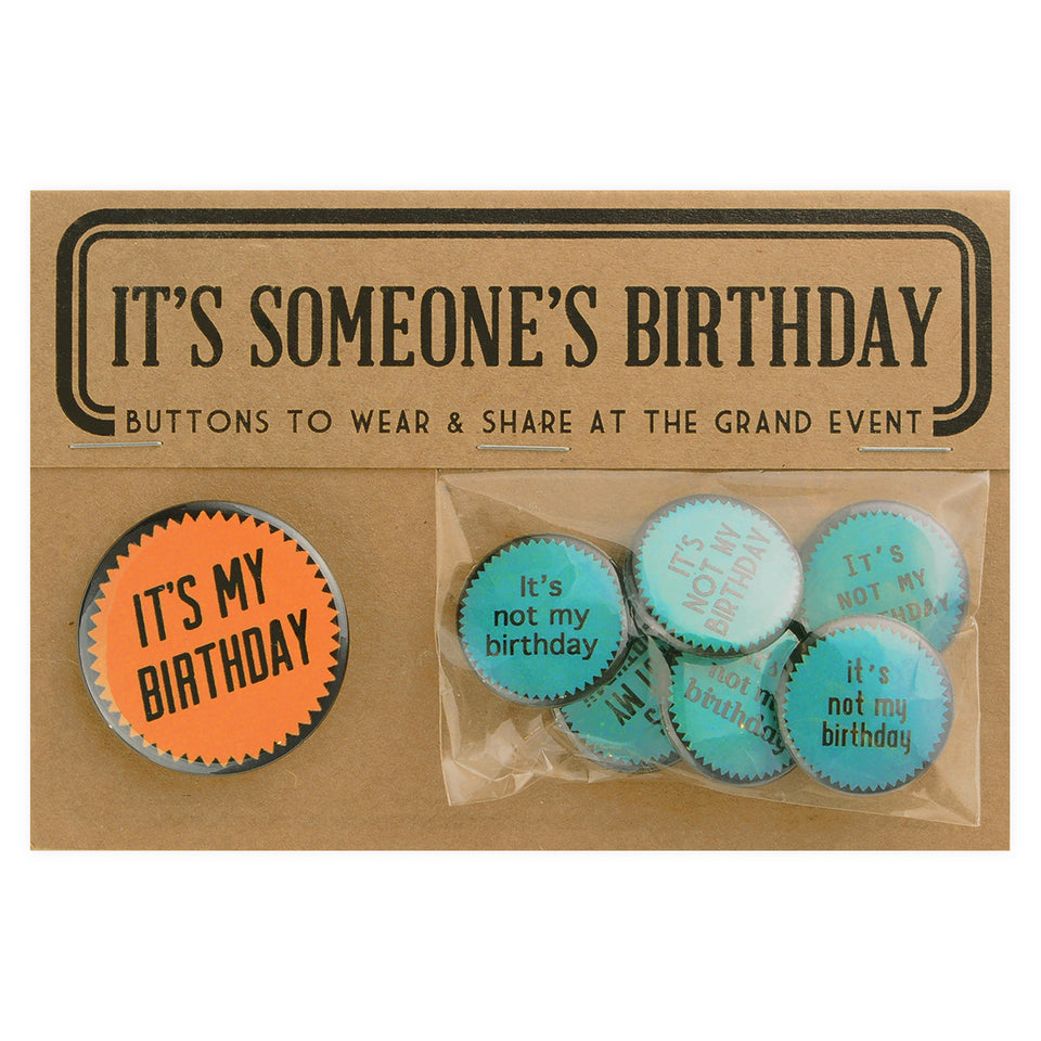 Regional Assembly of Text Someone's Birthday Button Pin Set