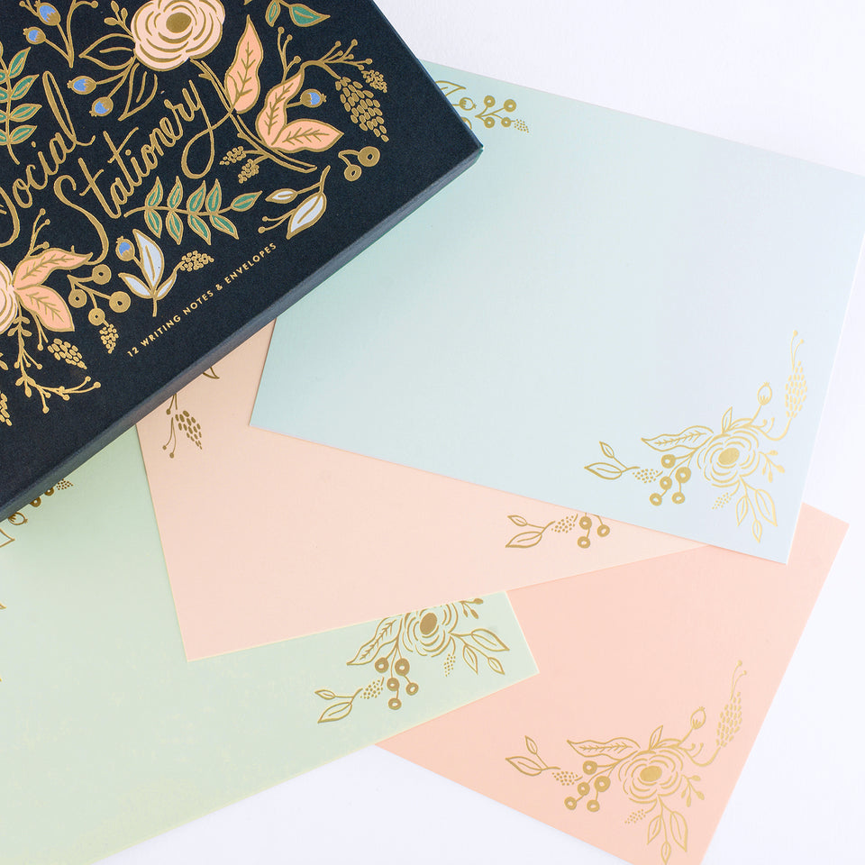 Rifle Paper Co. Colette Social Stationery Flat Note Cards Boxed