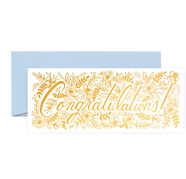 Rifle Paper Co. Champagne Floral Congratulations Card - GREER Chicago Online Stationery Shop