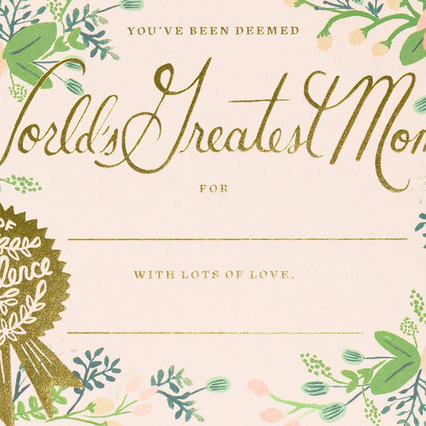 Greatest Mom Certificate Mother's Day Card - GREER Chicago Online Stationery