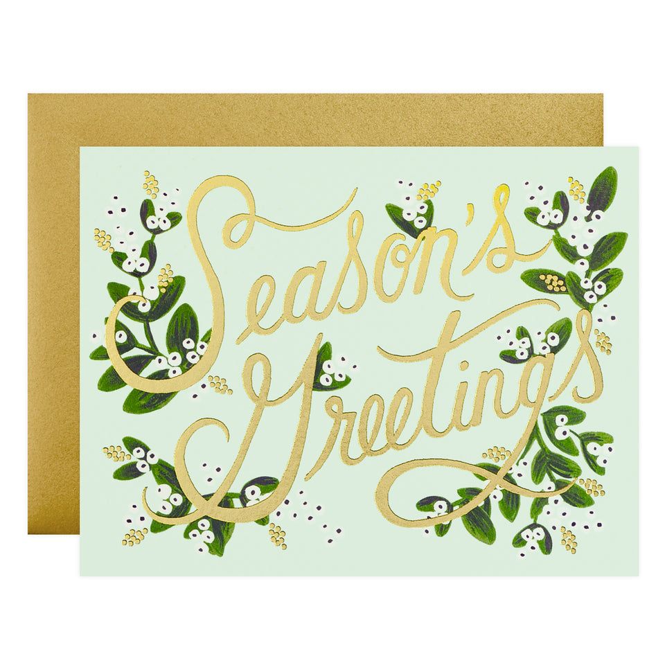 Rifle Paper Co. Mistletoe Season's Greetings Holiday Cards Boxed