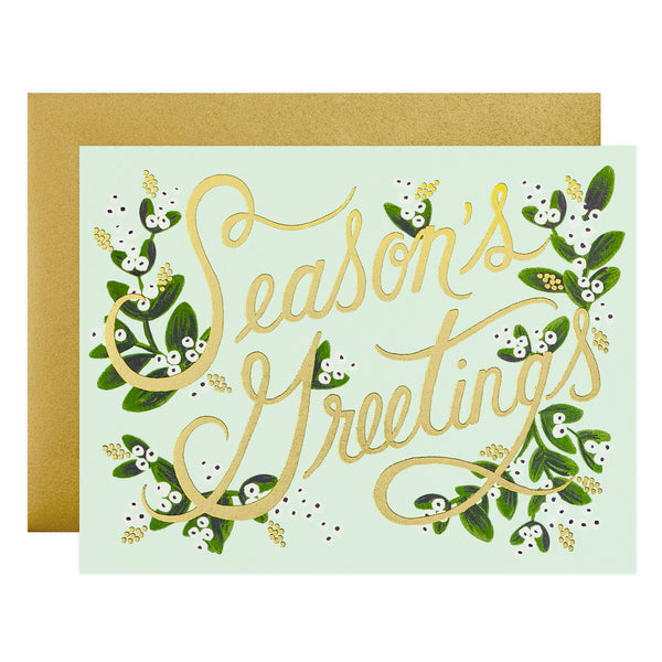 Rifle Paper Co. Mistletoe Season's Greetings Holiday Cards Boxed - GREER Chicago Online Stationery Shop