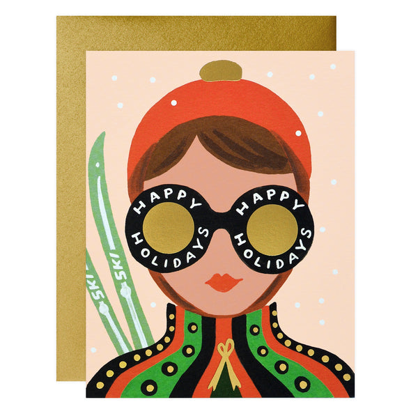 Rifle Paper Co. Ski Girl Holiday Cards Boxed - GREER Chicago Online Stationery Shop