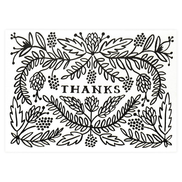 Rifle Paper Co. Thanks Folded Thank You Card - GREER Chicago Online Stationery Shop