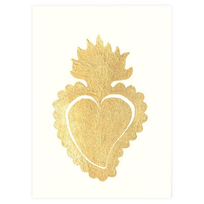 Catherine Greenup Sacred Heart Ivory Gold Leaf Greeting Card