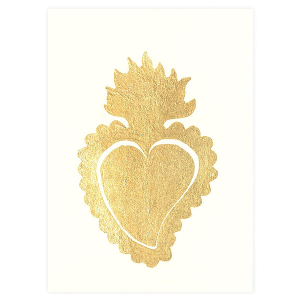 Sacred Heart Ivory Gold Leaf Greeting Card By Catherine Greenup - 1