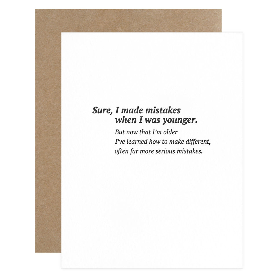 Sapling Press Serious Mistakes Greeting Card