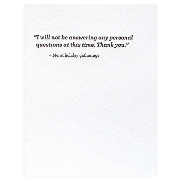 Sapling Press Personal Questions Holiday Cards Boxed - GREER Chicago Online Stationery Shop