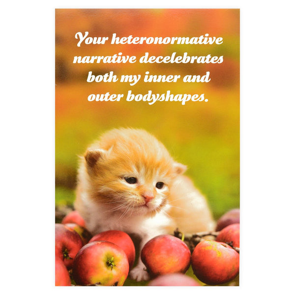 Social Justice Kittens Heteronormative Narrative Postcard By Sean Tejaratchi