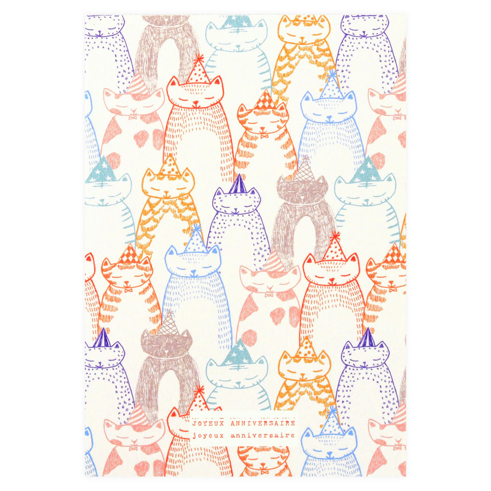 Season Paper All the Cats Joyeux Anniversaire Birthday Card