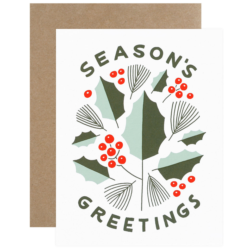 Worthwhile Paper Season's Greetings Holly Greeting Card