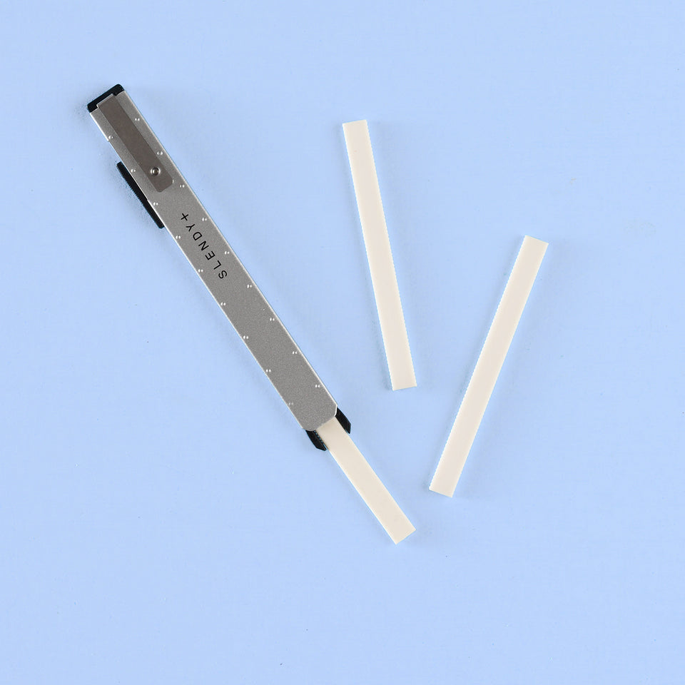 SEED Slendy Plus Thin Steel Knock Eraser and Refills