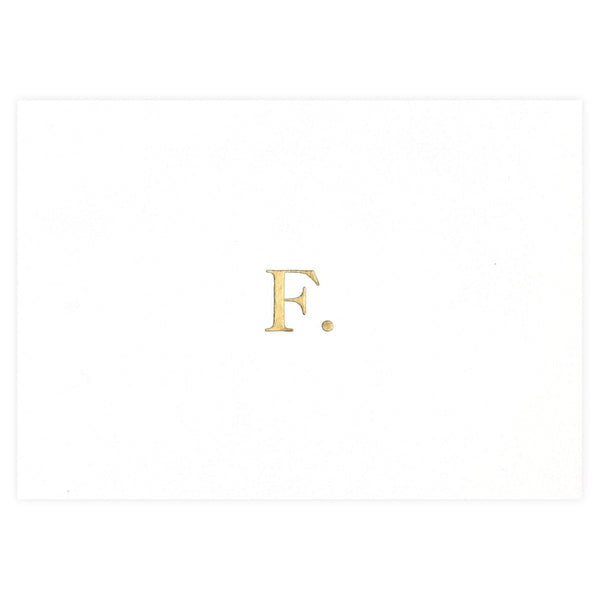 Gold Foil F Greeting Card By Seven Swans