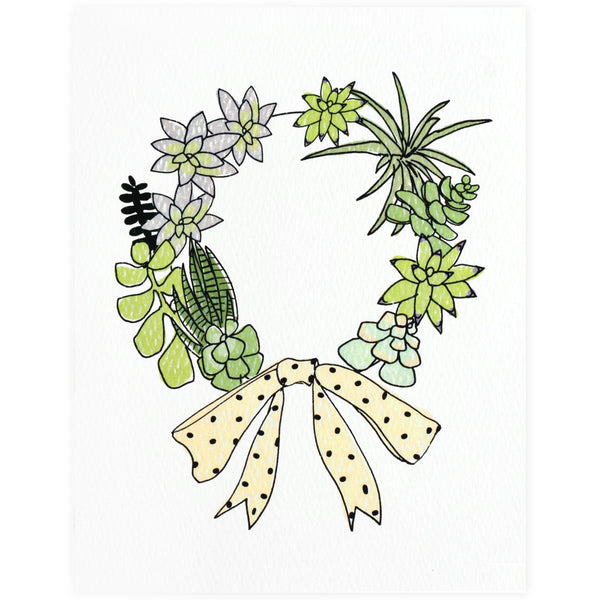Succulent Wreath Boxed Holiday Cards By Hartland Brooklyn