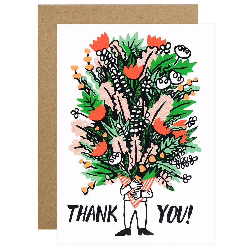 Wrap Bunch Of Flowers Thank You Card