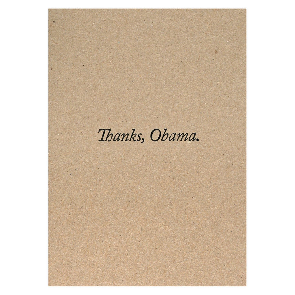 Thanks Obama Greeting Card - GREER Chicago Online Stationery