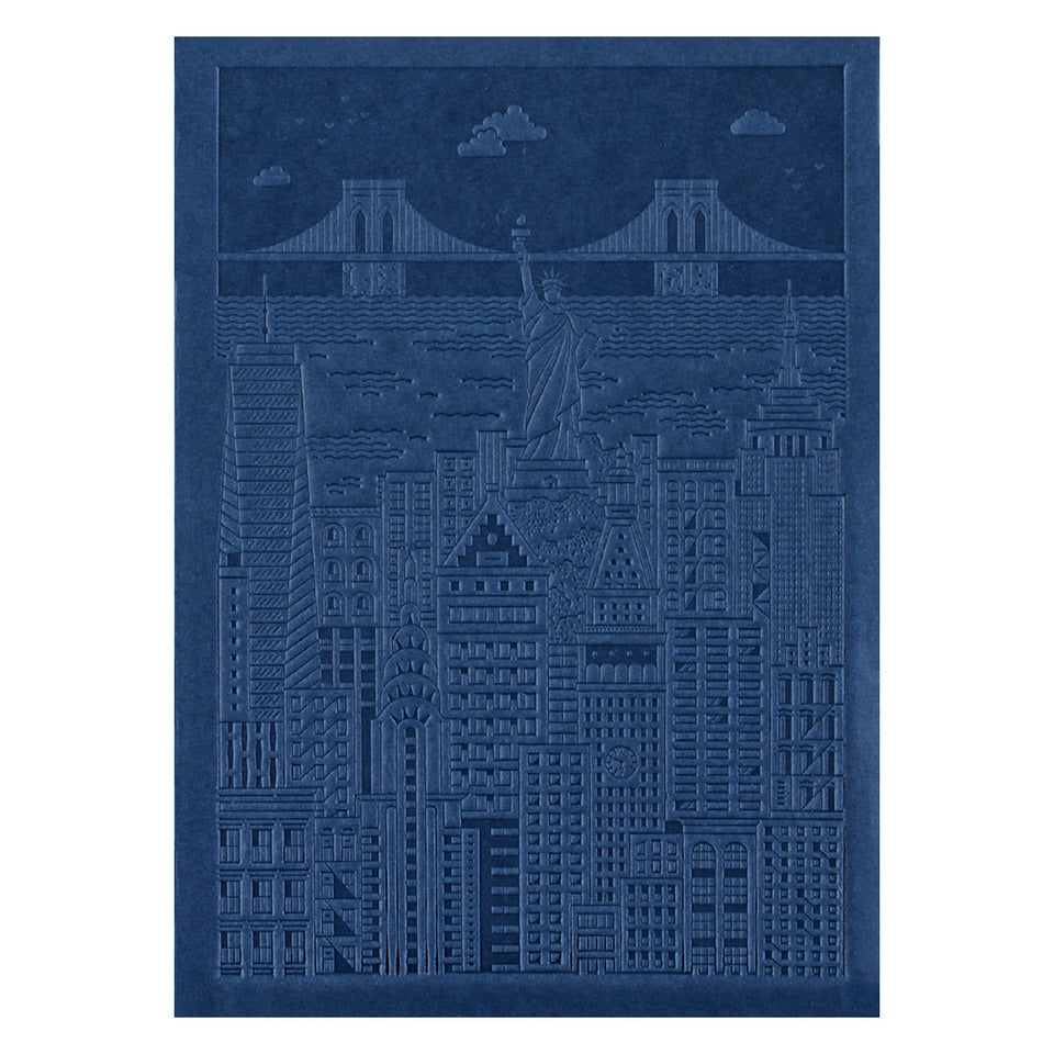 The City Works New York Debossed Blank Notebook | Blue, Pink or Yellow Blue