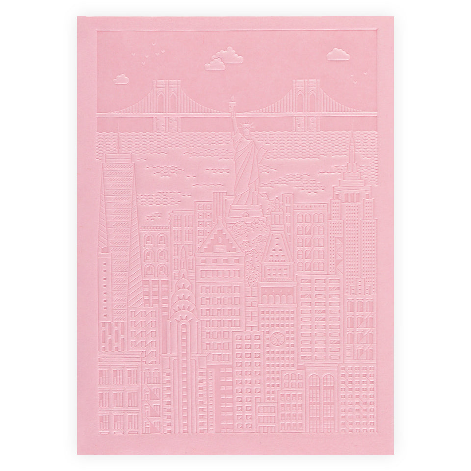 The City Works New York Debossed Blank Notebook | Blue, Pink or Yellow Pink