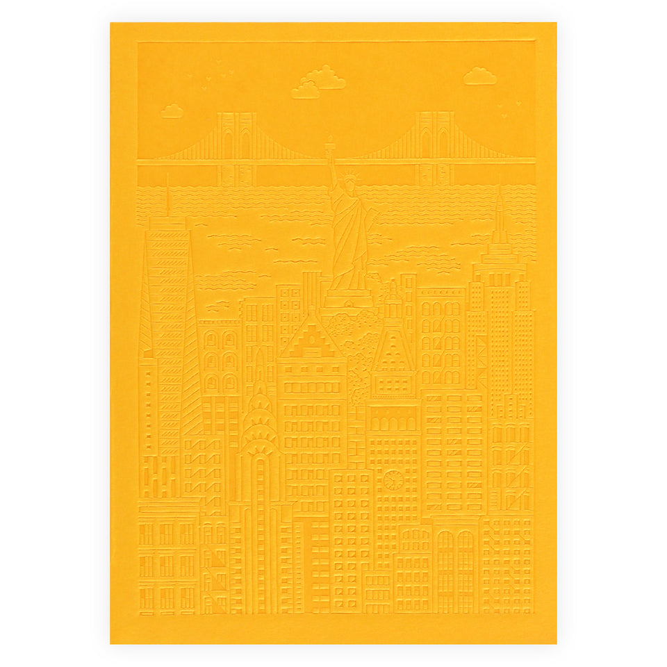 The City Works New York Debossed Blank Notebook | Blue, Pink or Yellow Yellow