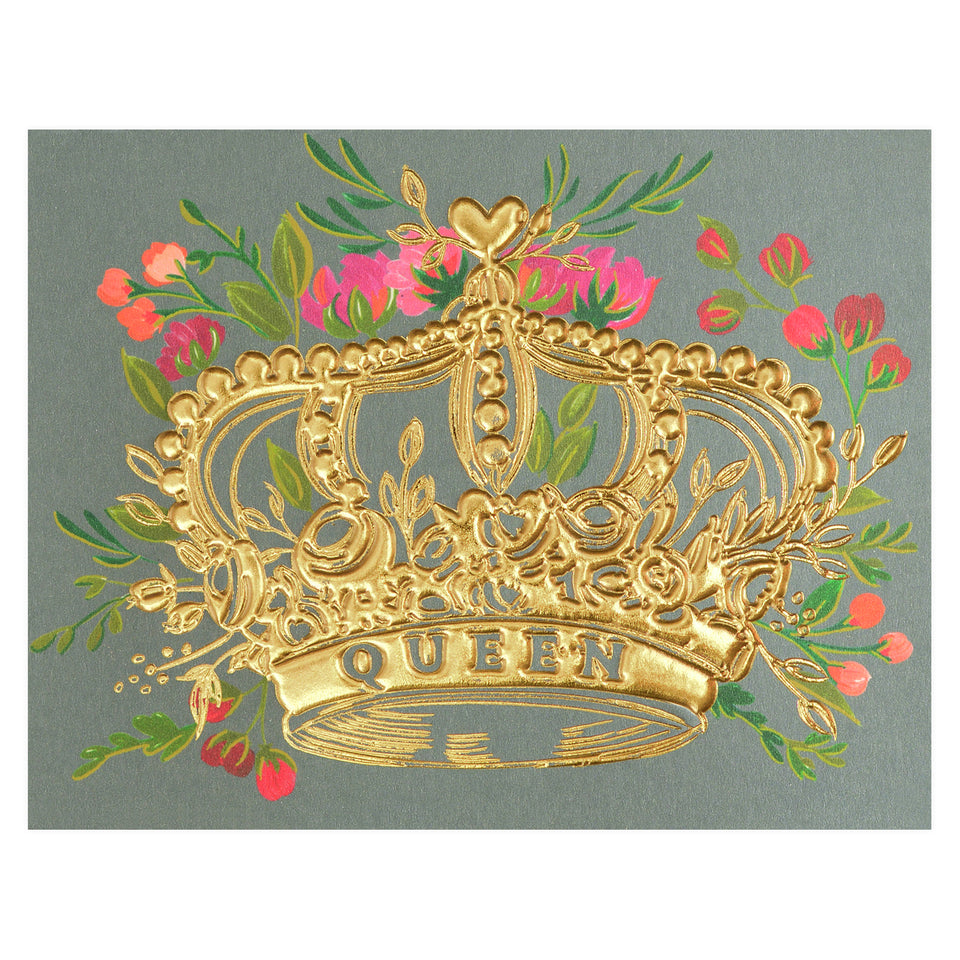 The First Snow Queen Gold Foil Crown with Florals Greeting Card