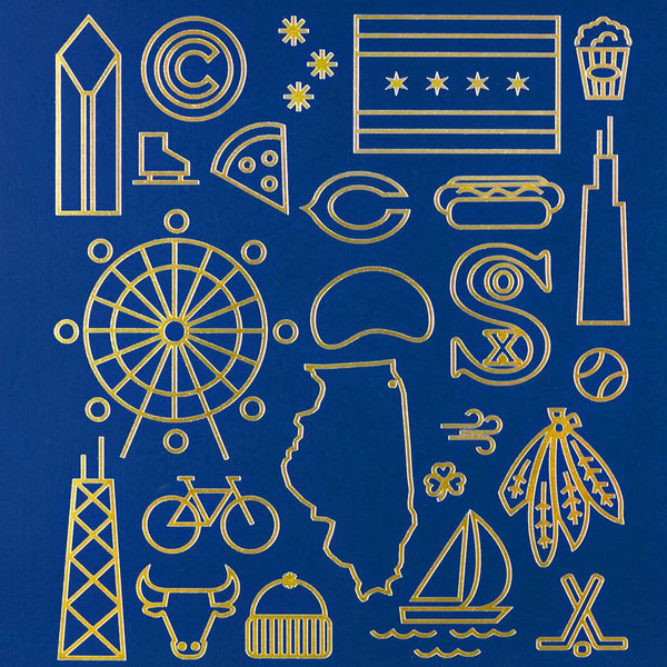 Navy & Gold Foil Chicago Print By The Lumber Exchange - 1