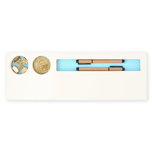 Three By Three Seattle Jotblock Notepad & Supply Caddy Powder Blue - GREER Chicago Online Stationery Shop