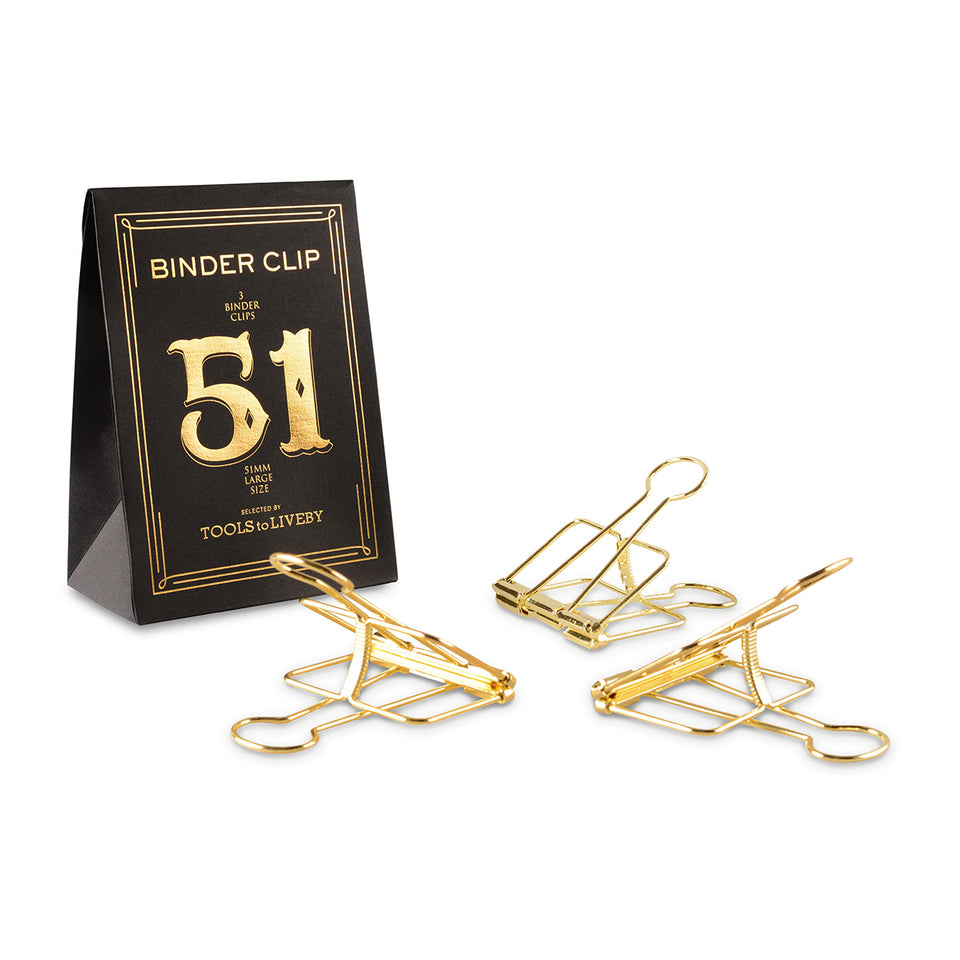 TOOLS to LIVEBY Binder Clips 51mm Golden
