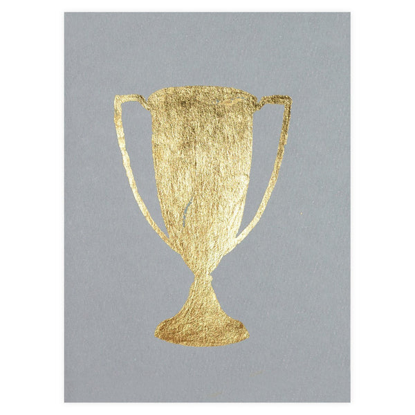 Trophy Grey Gold Leaf Greeting Card By Catherine Greenup - 1