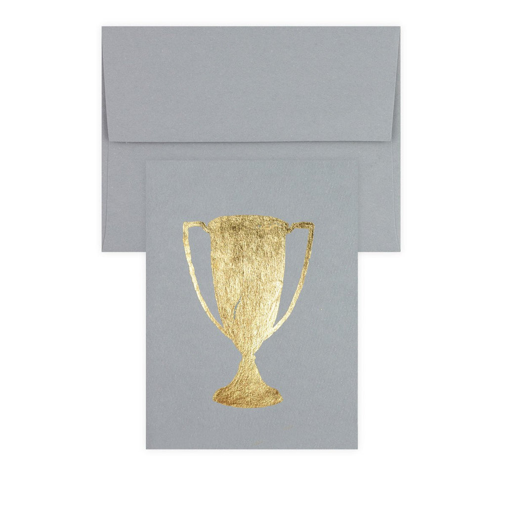 Trophy Grey Gold Leaf Greeting Card By Catherine Greenup - 2