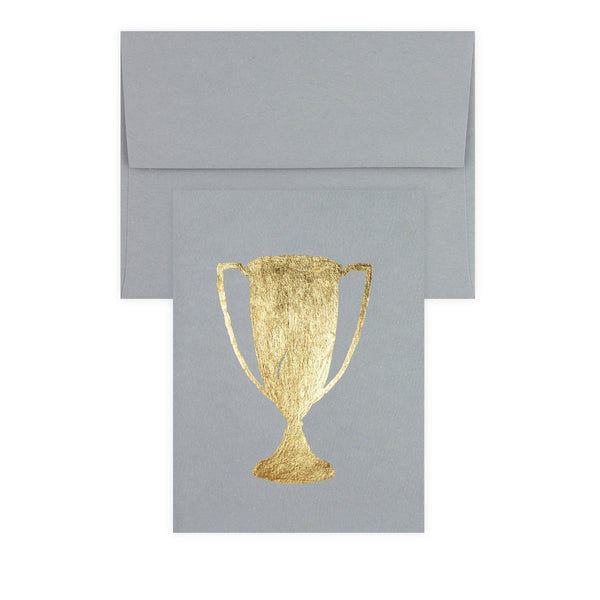 Trophy Grey Gold Leaf Greeting Card - GREER Chicago Online Stationery