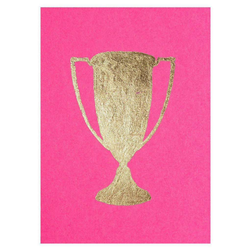 Trophy Fuchsia Gold Leaf Greeting Card - GREER Chicago Online Stationery