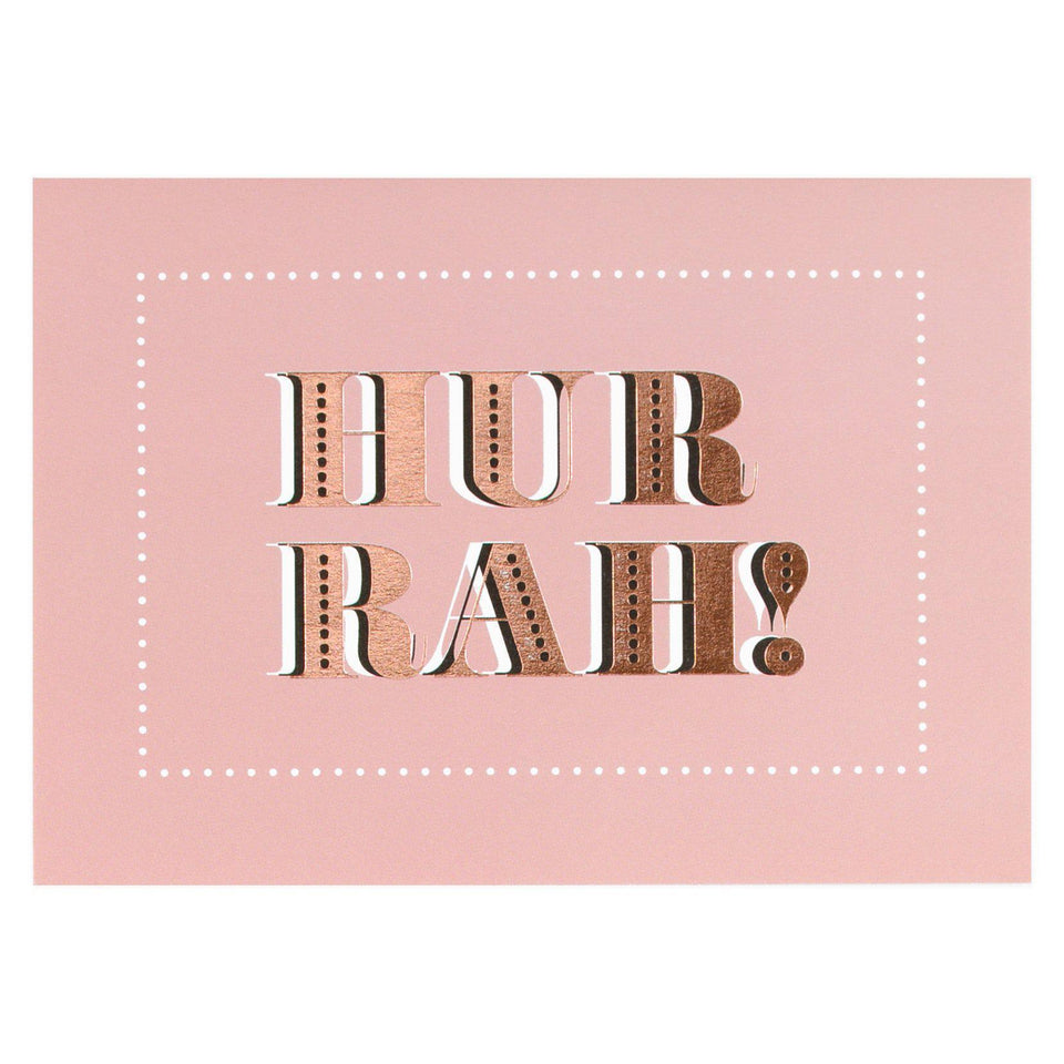 Type And Story Hurrah Pink Greeting Card