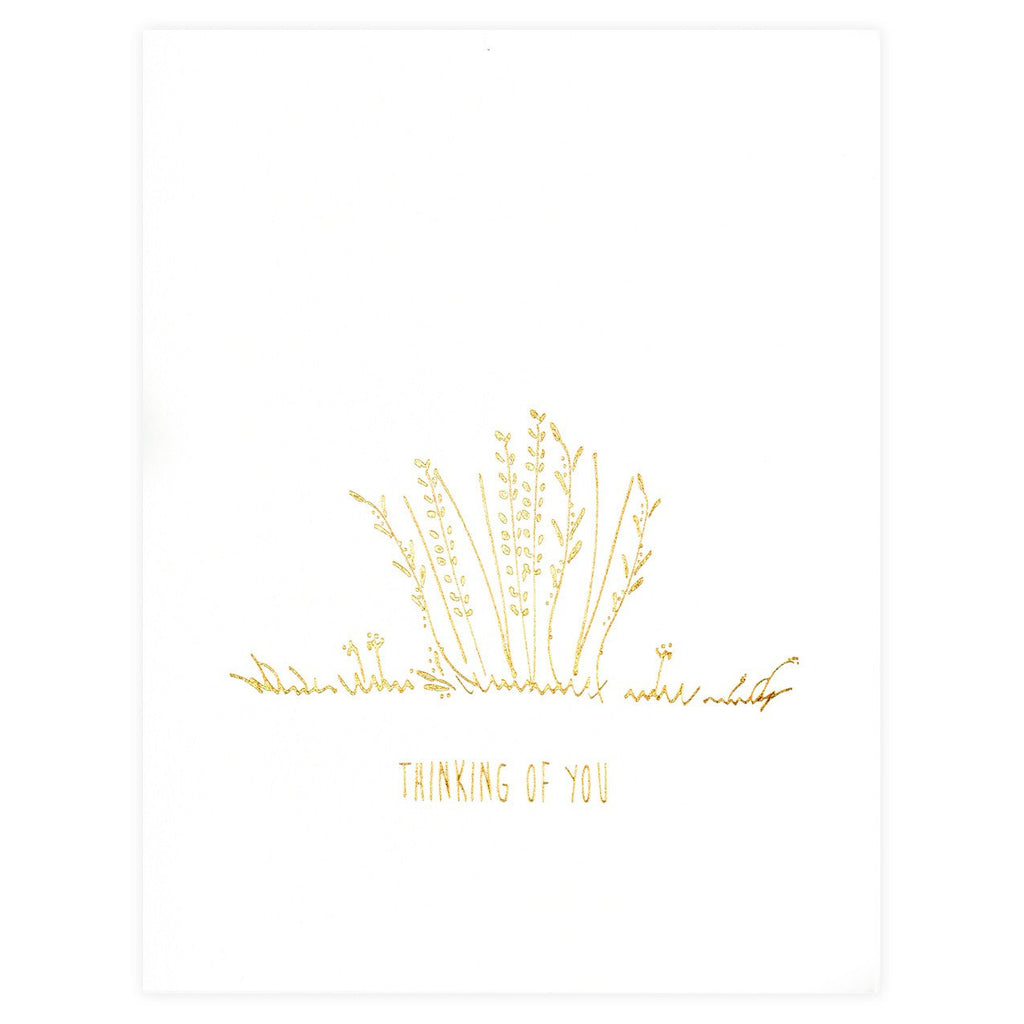 Underwood Letterpress Thinking Of You Flowers Greeting Card