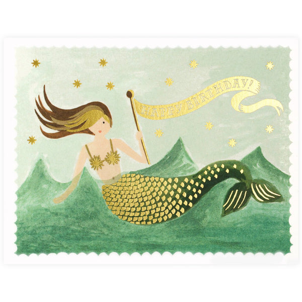 Rifle Paper Co. Vintage Mermaid Birthday Card - GREER Chicago Online Stationery Shop