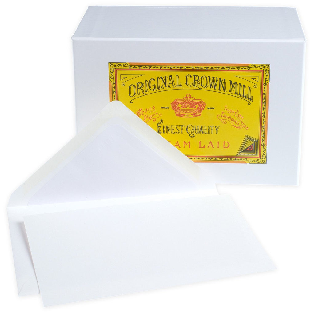 Classic Laid Note Card Presentation Box White By Crown Mill - 1