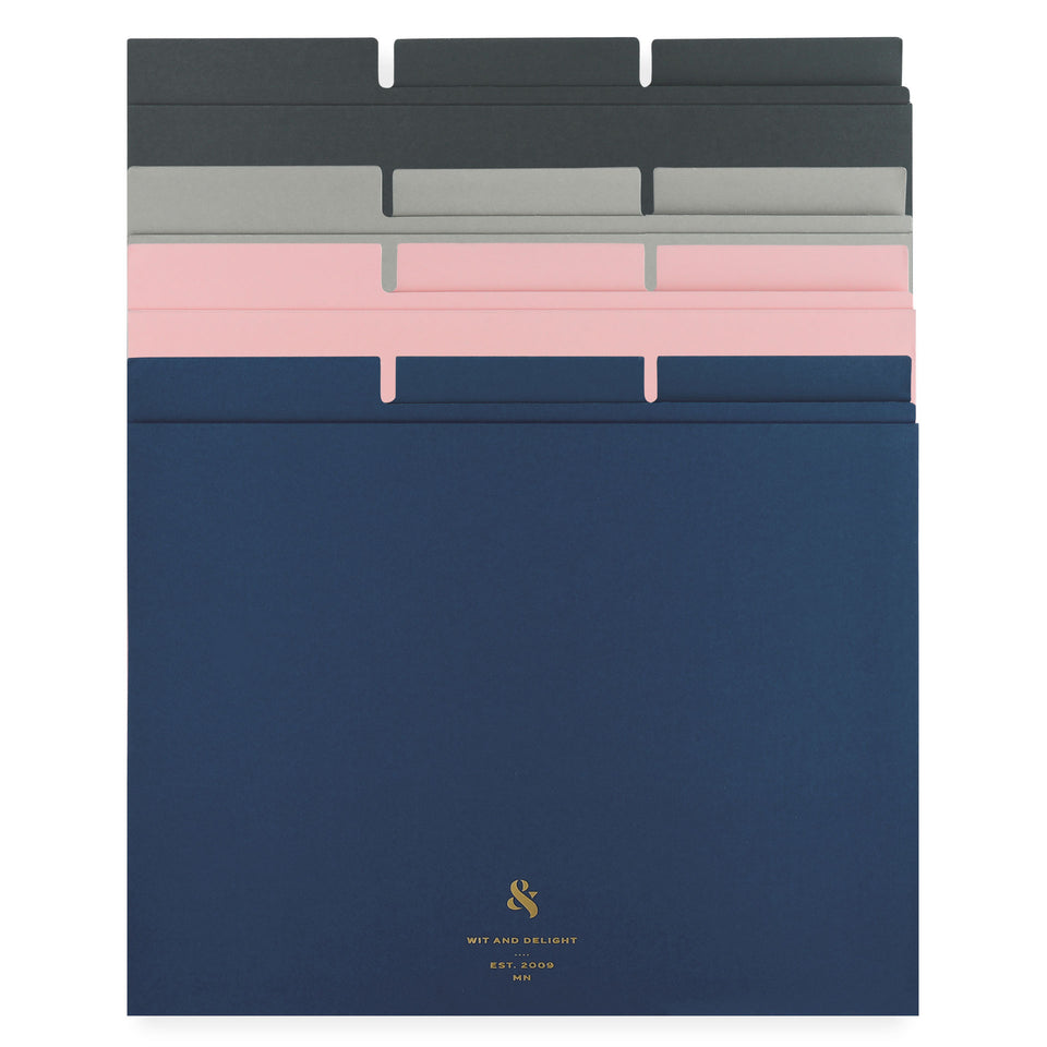 Wit & Delight Assorted File Folders Set of Twelve | Blue/Pink/Grey/Black